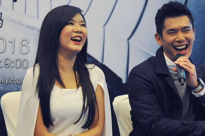 Rui En (left) during the press conference for new Channel 8 drama If Only I Could.