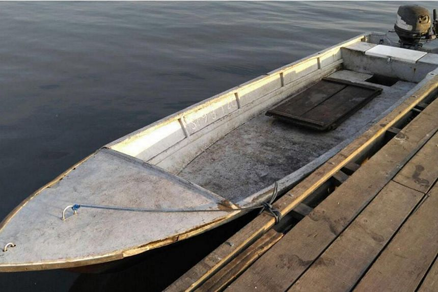 The motorised sampan which was stolen by the suspect.