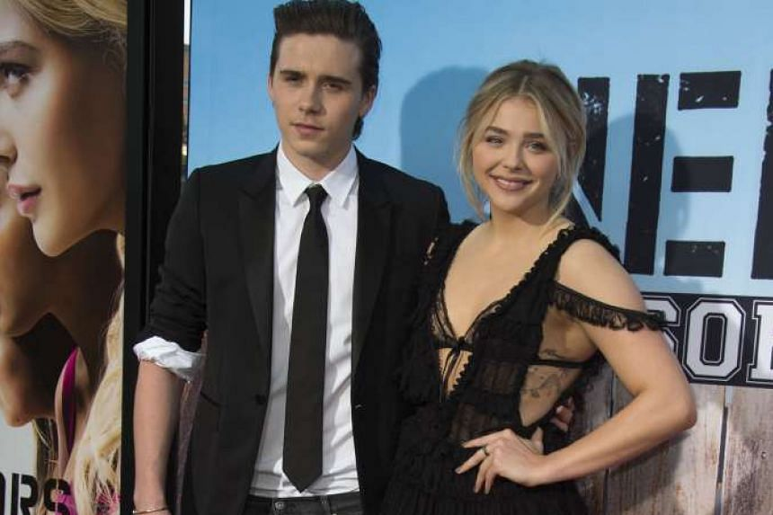 Footballer David Beckham's son, Brooklyn, 17, and actress Chloe Grace Moretz, 19, made their red carpet debut as a couple at the Bad Neighbors 2 premiere in Westwood, California on Monday.