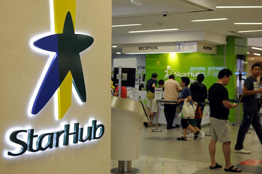The logo of StarHub Ltd. is displayed outside a retail outlet in Singapore.
