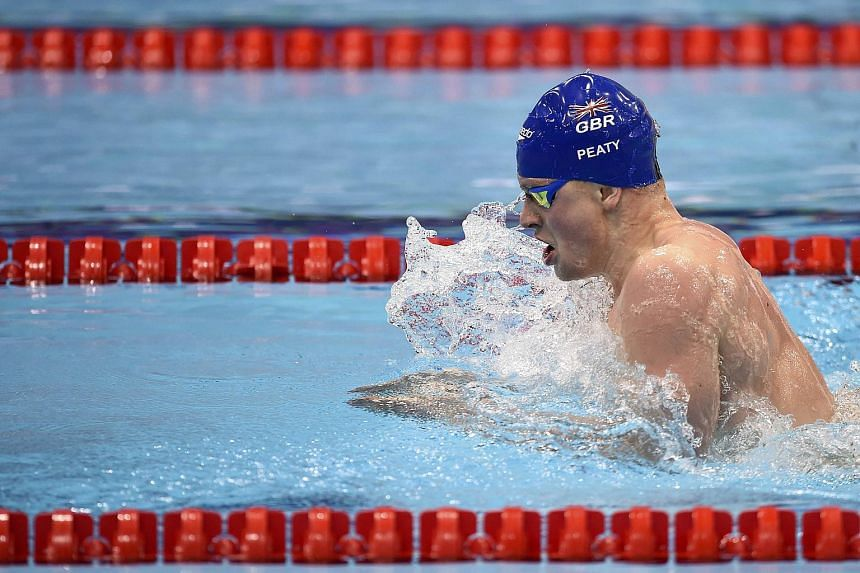 Britain's Adam Peaty competing during the Mixed 4x100m medley final event on May 17, 2016.