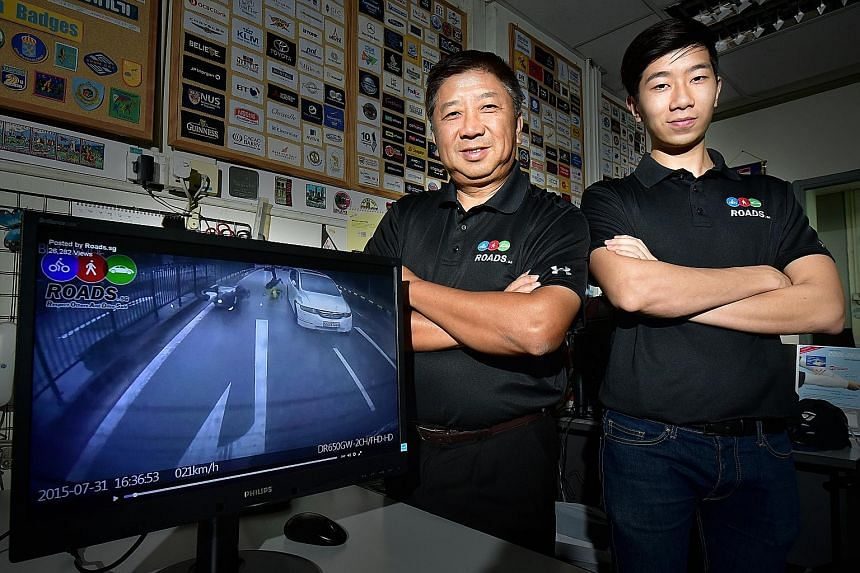 Mr Fong and his son, Jeremy, run the Roads.sg website which hosts user-submitted clips of bad road behaviour. Over the past few years, road safety interest groups such as Roads.sg, Singapore Reckless Drivers and Beh Chia Lor have gained a large onlin