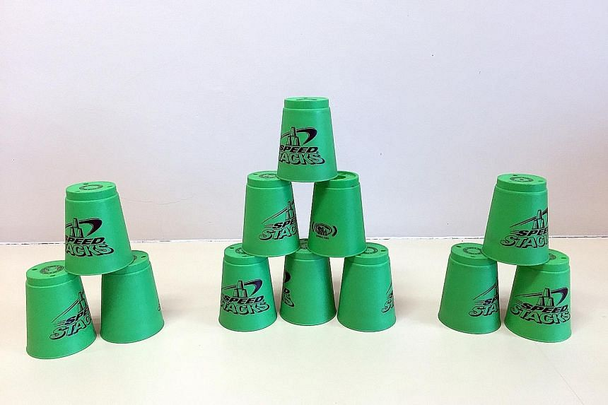 The 3-6-3 formation, consisting of two small pyramids of three cups on either side, and one bigger pyramid of six cups in the middle.