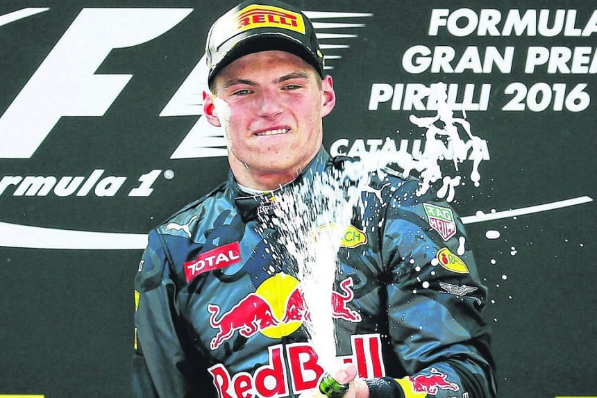 A gleeful Max Verstappen atop the Circuit de Catalunya podium, after becoming F1's youngest race winner by clinching last Sunday's Spanish Grand Prix.