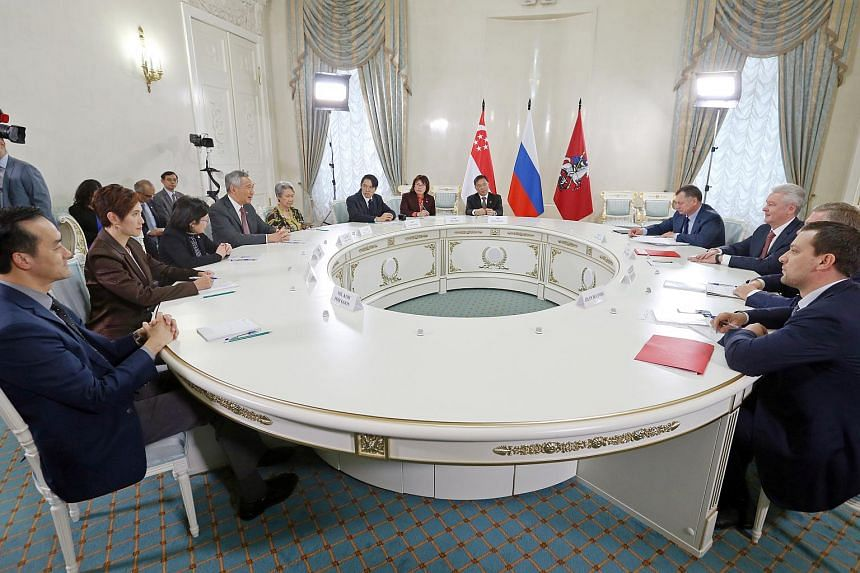 PM Lee Hsien Loong meets with Mayor of Moscow (3rd from right) Sergei Sobyanin, in Moscow ahead of the ASEAN-Russia Commemorative Summit (ARCS).