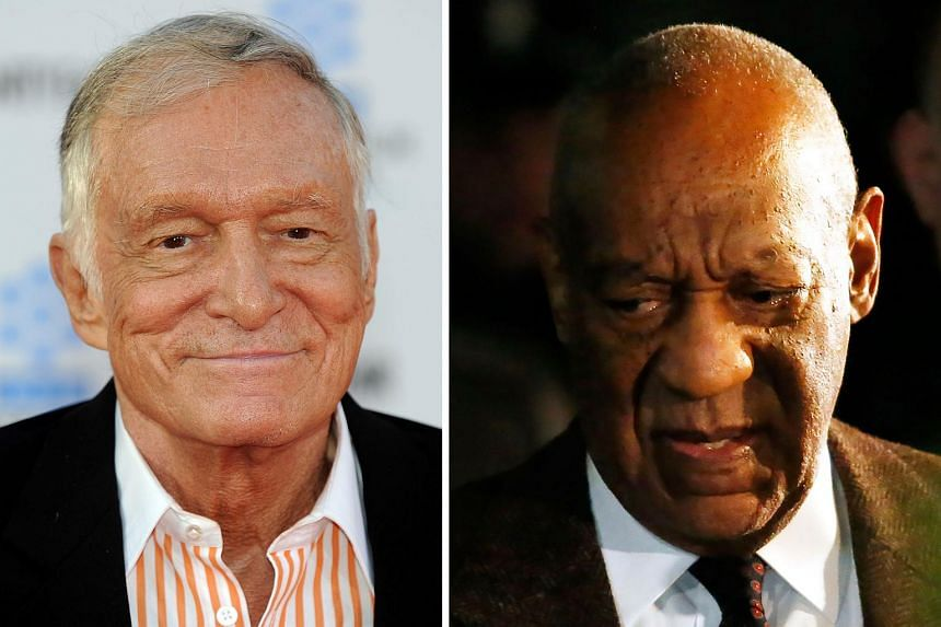 A model has named Playboy founder Hugh Hefner (left) in a new lawsuit against Bill Cosby.