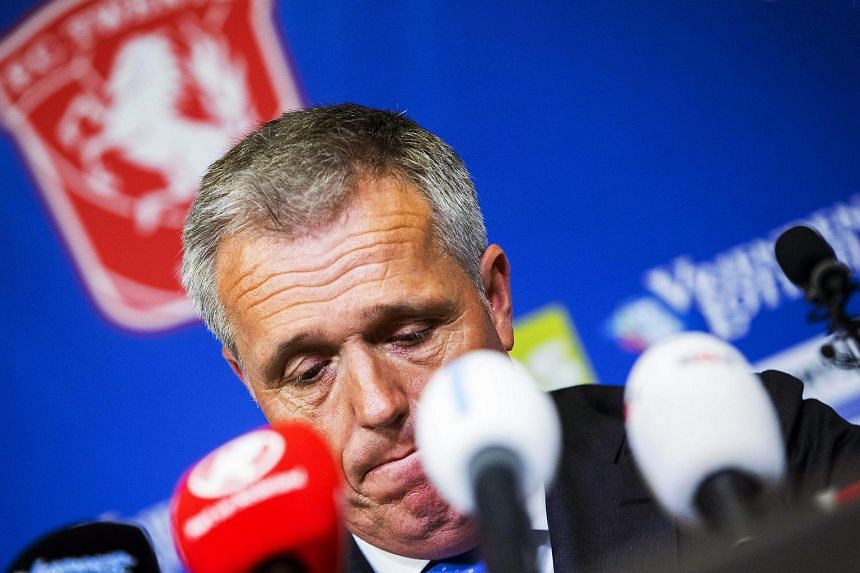 Chairman Onno Jacobs of Dutch football team FC Twente reacts during a press conference at the De Grolsch Veste stadium in Enschede, Netherlands.