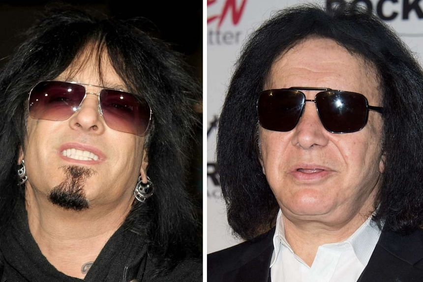 Musicians Nikki Sixx (left) in 2010 and Gene Simmons in 2015.