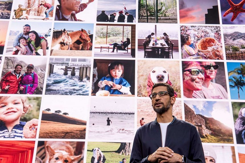 Google chief Sundar Pichai speaks during the Google I/O Annual Developers Conference.