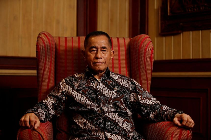 Indonesia's Defence Minister Ryamizard Ryacudu listens to a question during an interview with Reuters in Jakarta.