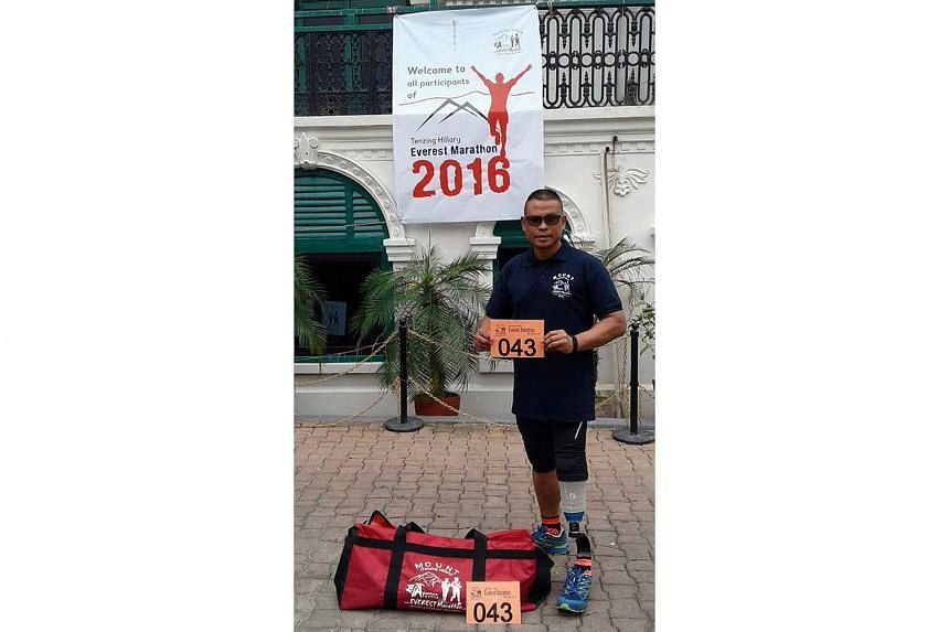 Para-athlete Shariff Abdullah in Lukla, Nepal, in preparation for his participation in the Tenzing Hillary Everest Marathon on May 29, 2016.