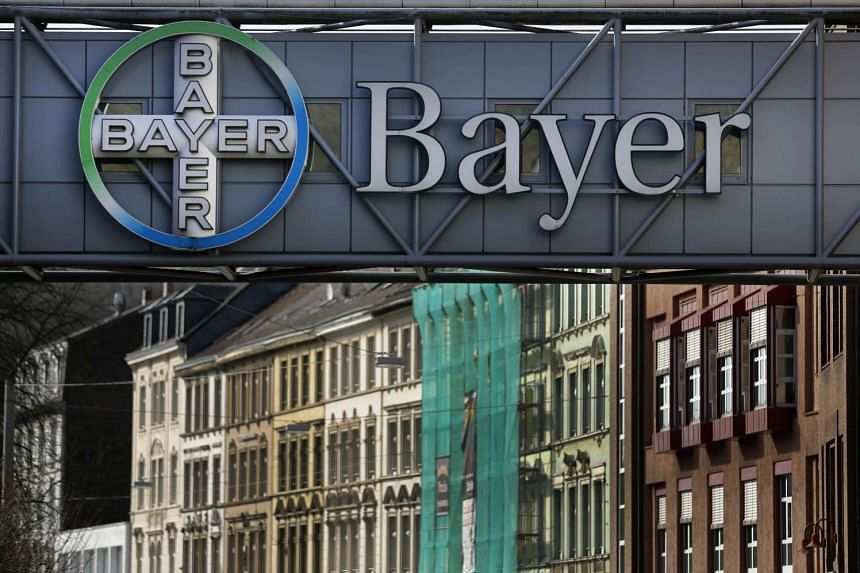 The logo of Bayer AG is pictured at the Bayer Healthcare subgroup production plant in Wuppertal, on Feb 24, 2014.