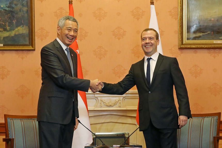 Prime Minister Lee Hsien Loong meets Russia Prime Minister Dmitry Medvedev at the Government Reception House in Moscow on May 19, 2016.