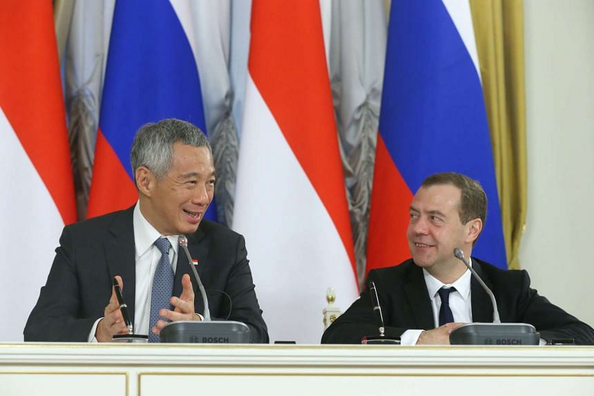 Prime Minister Lee Hsien Loong and Russian Prime Minister Dmitry Medvedev hold a press conference at the Government Reception House in Moscow on May 19, 2016.