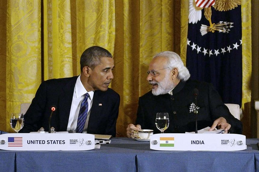 US President Barack Obama with Indian Prime Minister Narendra Modi at the White House on March 31 in Washington, DC.