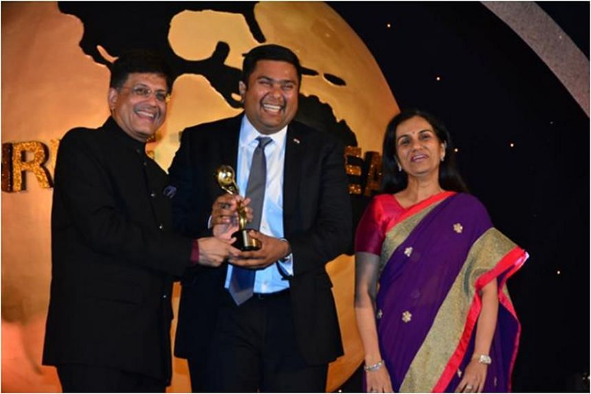 India's minister of state with independent charge for power, coal, new and renewable energy Piyush Goyal (left) at the Times Now-ICIC Bank NRI of the Year Award in Mumbai on April 11.