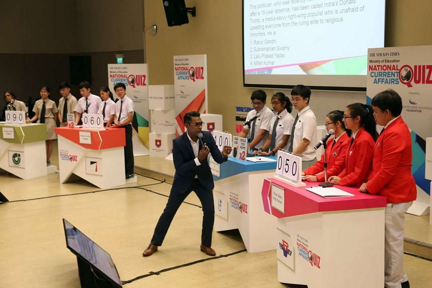 From left to right: teams from Jurong Junior College, Pioneer Junior College, NUS High School of Mathematics and Science, and River Valley High School during the quiz round on May 18.
