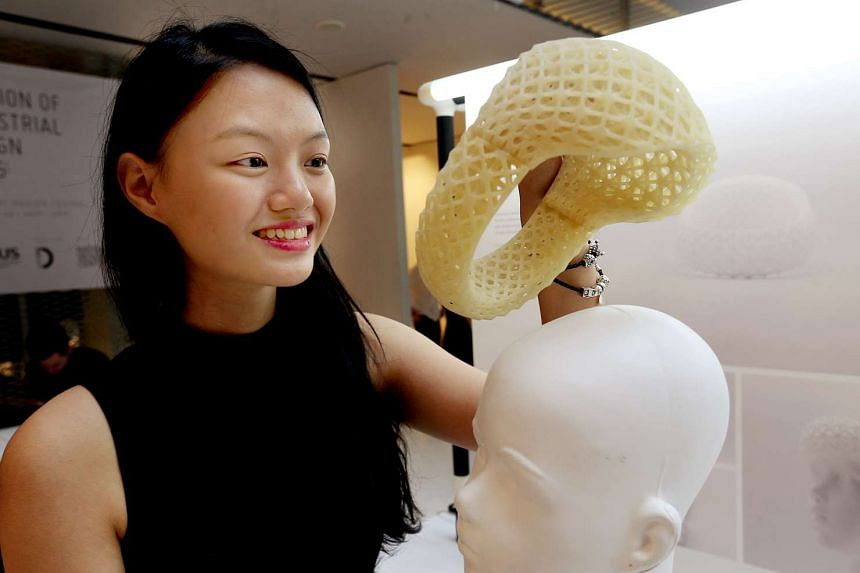 Ms Jolene Ng Jia Ying at the National Design Centre for the NUS School of Design and Environment showcase on May 20.