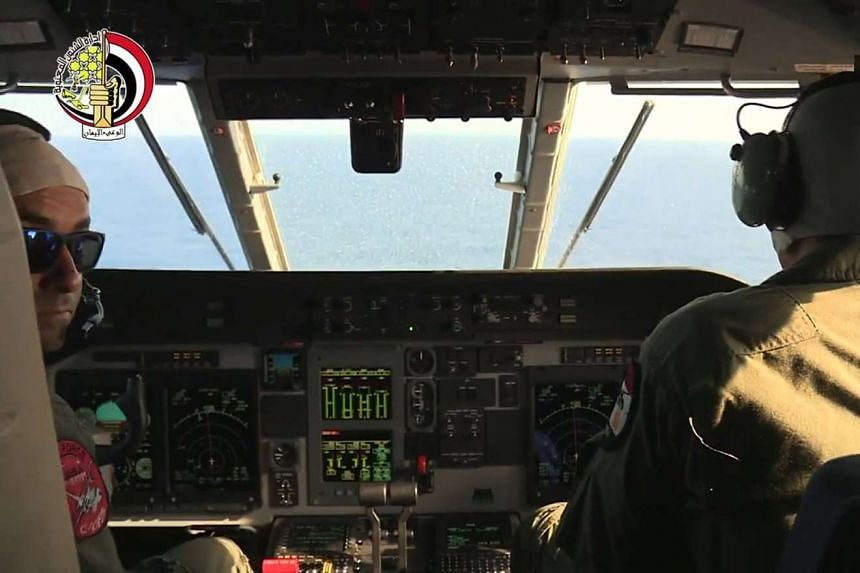 Egyptian military pilots taking part in a search mission over the Mediterranean Sea for the remains of an EgyptAir plane which crashed on May 19, 2016.