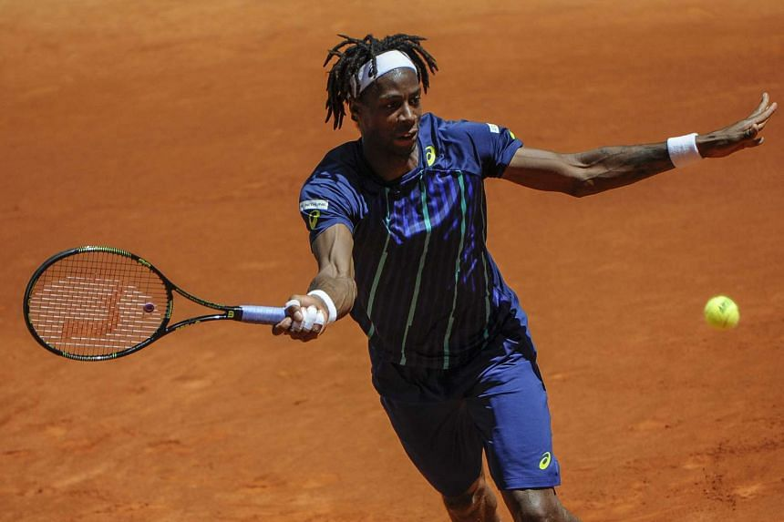 French tennis player Gael Monfils in action during the Madrid Open, on May 3, 2016.