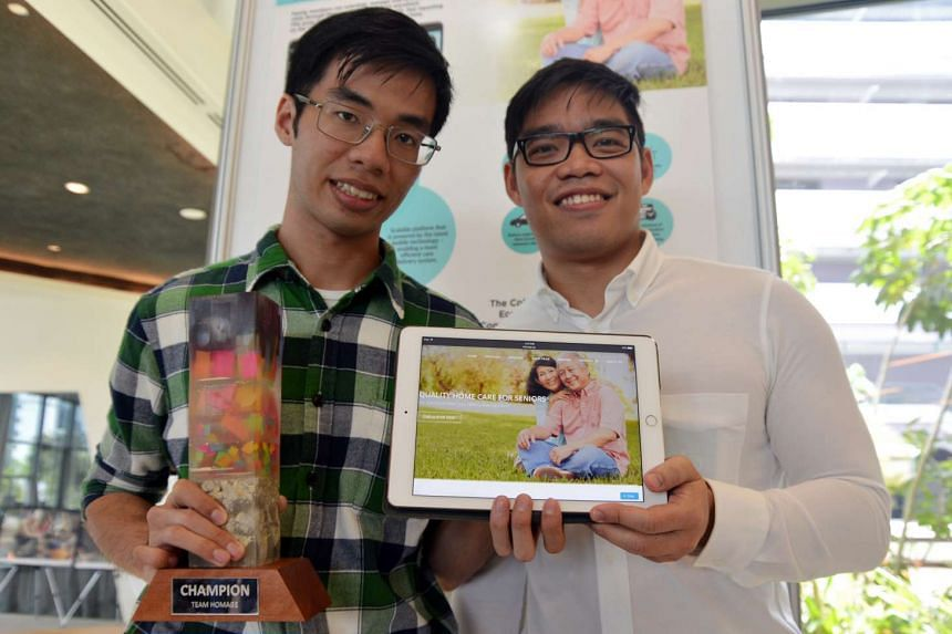 Mr Huey Nguyen (left) and Mr Tong Nhat Duong at the Create4Good Challenge, which encourages the development of solutions that cultivates a more inclusive and caring Singapore society.