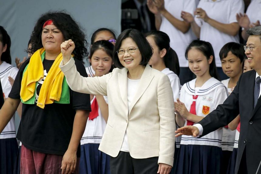 Taiwan President Tsai Ing-wen in front of the crowd at her inauguration in Taipei on May 20.