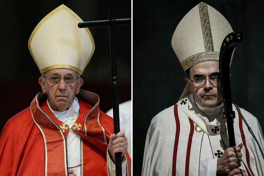 Pope Francis (left) attending the funeral of Cardinal Giovanni Coppa at St. Peter's Basilica in Vatican, on May 18, 2016, and Cardinal Philippe Barbarin leading a mass in Saint-Jean cathedral in Lyon, on April 3, 2016.