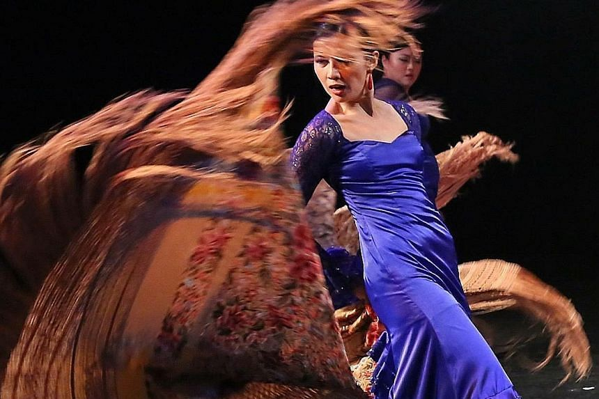 Dancers from Flamenco Sin Fronteras. Chinese flamenco dancer Zhen Zhao performing with Indian musicians.