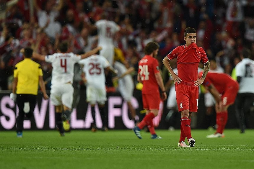 It's simply the pits for Brazilian forward Philippe Coutinho and his Liverpool team-mates after losing the Europa League final 1-3 to Sevilla at St Jakob-Park in Basel.