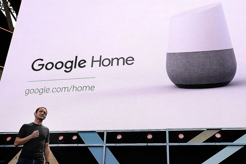 Google vice-president of product management Mario Queiroz showing how Google Home works during Google I/O 2016 at the Shoreline Amphitheatre yesterday.