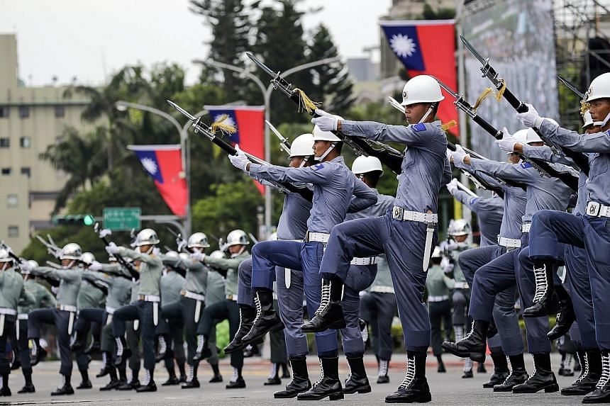 Taiwan's honour guard rehearsing for the presidential inauguration in Taipei yesterday.