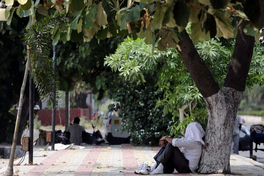 A man sitting under the shade of a tree on a roadside with his face covered with a handkerchief in Amritsar, India, on May 11, 2016. A city in the desert state of Rajasthan, Phalodi, has shattered the national heat record.