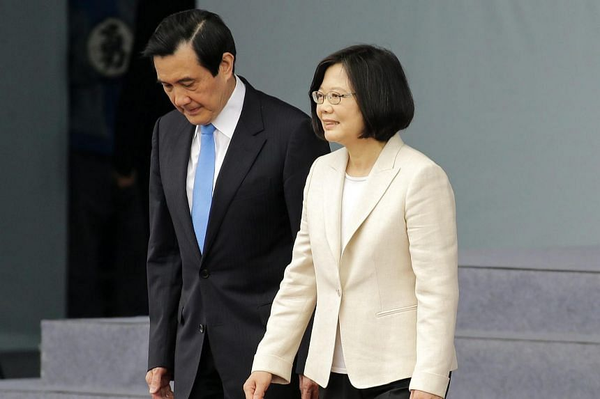Taiwan's new President Tsai Ing-wen (right) and outgoing president Ma Ying-jeou walking together during the Presidential inauguration, in Taipei, Taiwan, on May 20, 2016.