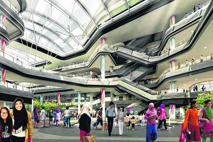 Artist's impression of Central Plaza at Our Tampines Hub, Singapore's first integrated community hub.