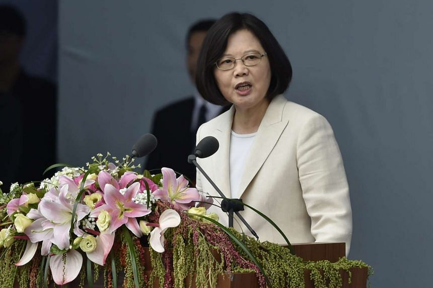 Taiwan's new President Tsai Ing-wen speaks during her inauguration ceremony in Taipei on May 20, 2016.