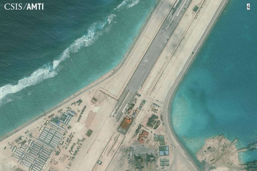 The centre portion of the Subi Reef in the South China Sea runway is shown in this satellite image released to Reuters on Jan 15.