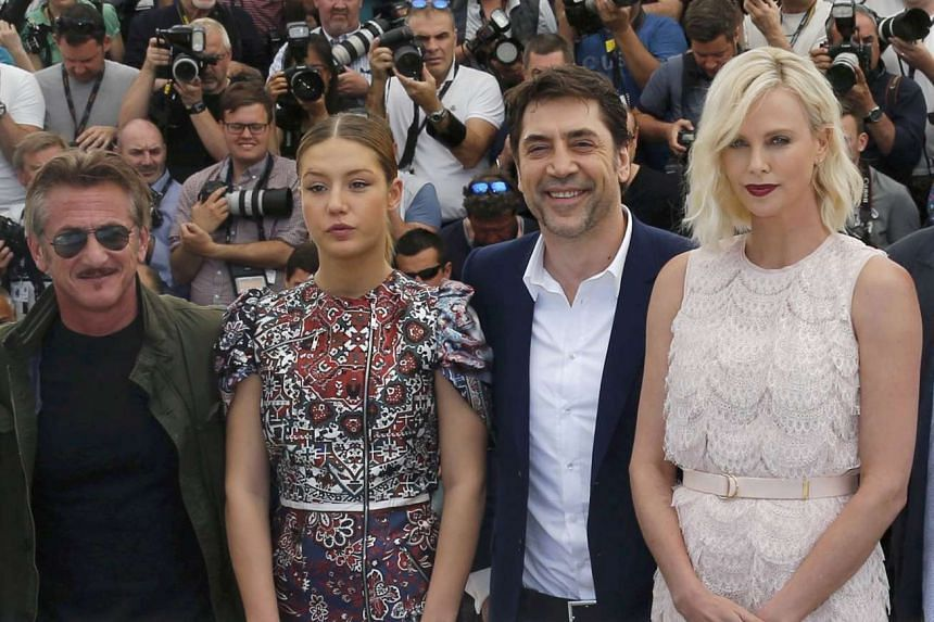 Director Sean Penn (from left) and cast members Adele Exarchopoulos, Javier Bardem and Charlize Theron in Cannes.
