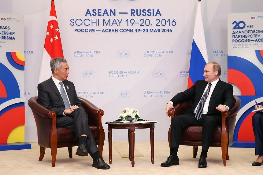 PM Lee Hsien Loong (left) and Russian President Vladimir Putin during a meeting on the sidelines of the Asean-Russia Commemorative Summit in Sochi on May 19.
