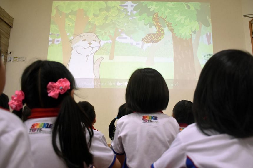 Pre-schoolers at PCF Sparkletots watching the animation Kaya The Otter Finds A New Home.