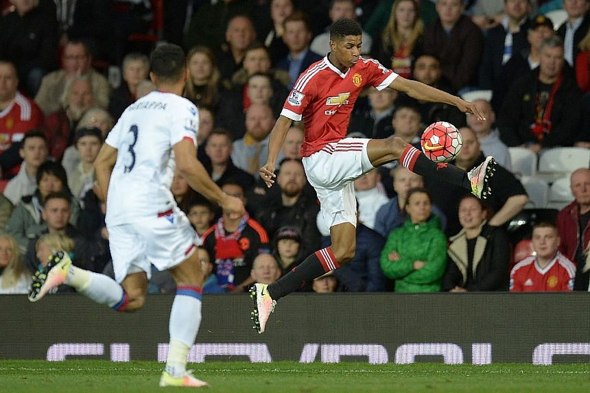 Marcus Rashford (right) controlling the ball during United's 2-0 Premier League win against Crystal Palace last month. The English forward and Anthony Martial have been rare bright spots for Louis van Gaal's side this season. Palace, meanwhile, are s