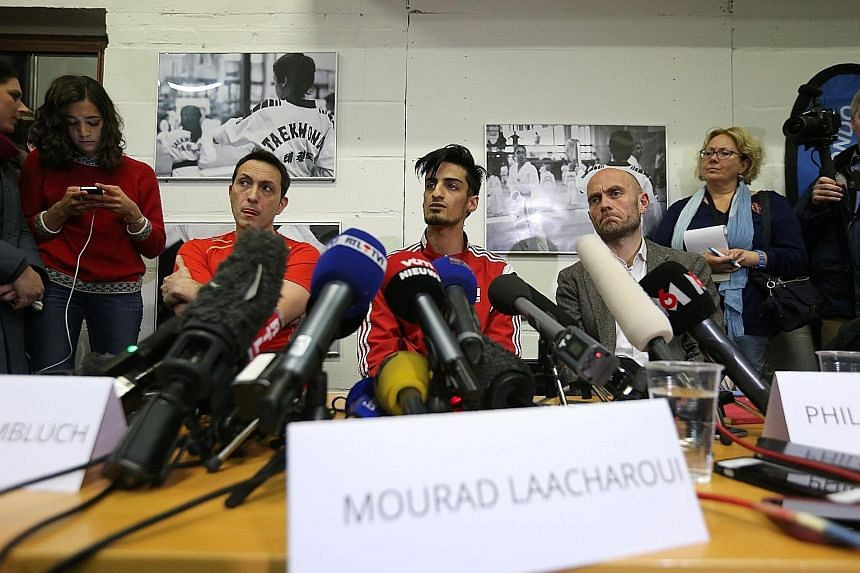 Belgian Mourad Laachraoui (centre), the younger brother of Najim Laachraoui, one of the Brussels airport bombers, won gold in the European Taekwondo Championships on Thursday night. Mourad Laachraoui, 21, beat Spaniard Jesus Tortosa 6-3 in the -54kg