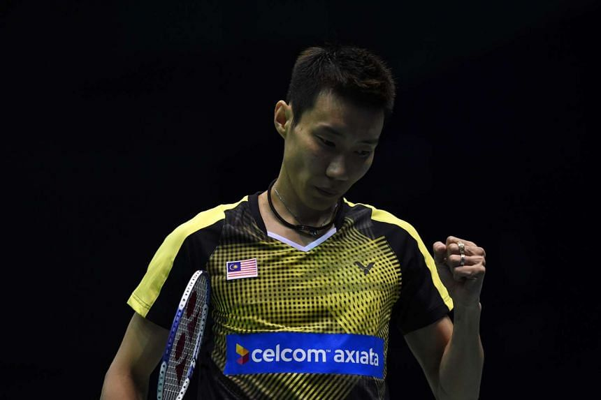 Lee Chong Wei of Malaysia celebrates his victory against Viktor Axelsen of Denmark during their men's singles semi finals match.