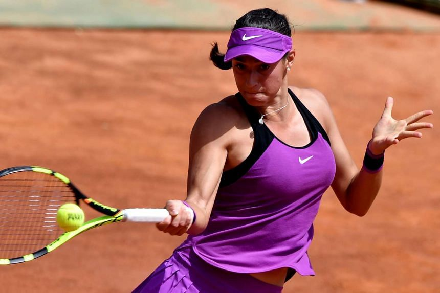 France's Caroline Garcia in action in Rome on May 10, 2016.