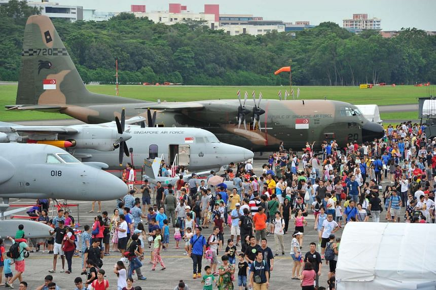 Crowd at the Republic of Singapore Air Force (RSAF) Open House at Paya Lebar Air Base (PLAB), on May 21, 2016.