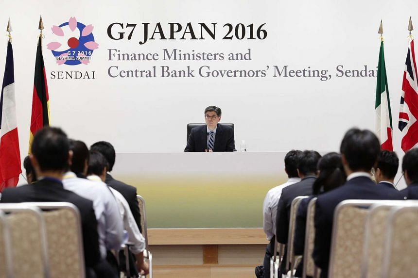 """Jacob """"Jack"""" Lew, US Treasury secretary, speaks at a news conference following the G-7 finance ministers and central bank governors meeting in Sendai, Japan, on May 21, 2016."""