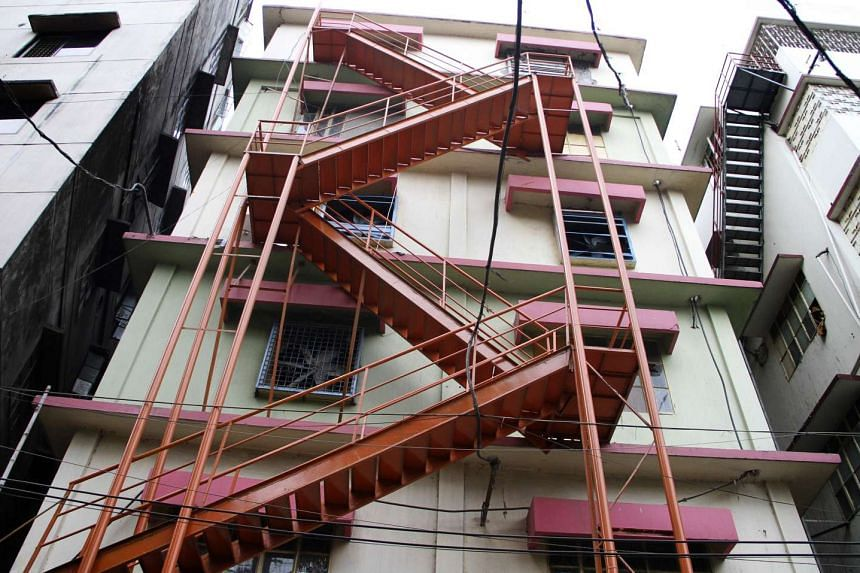 A view of a fire escape at a Bangladesh garment factory in Dhaka, on April 21, 2016.
