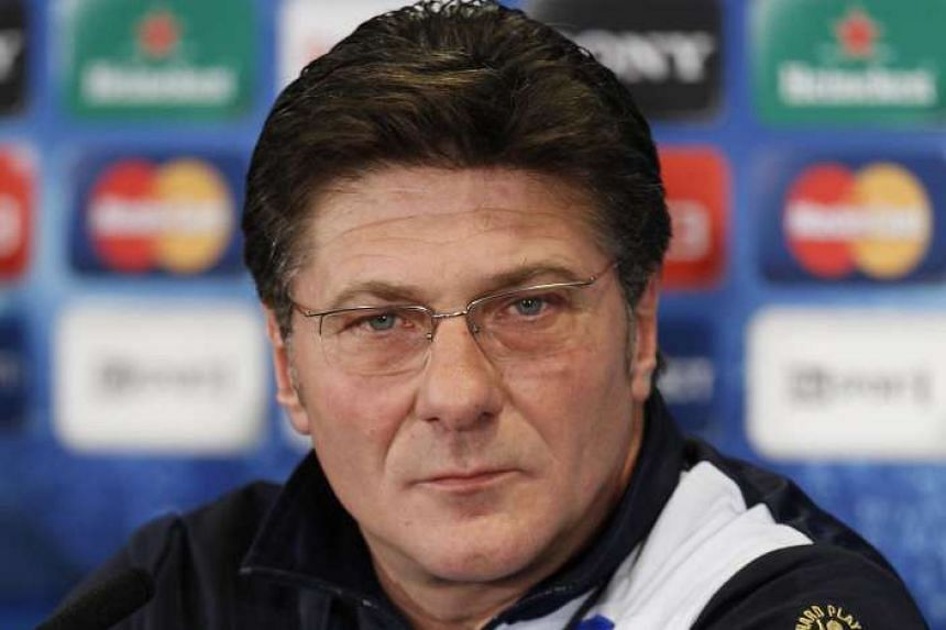 Walter Mazzarri at a press conference in England, on March 13, 2012.