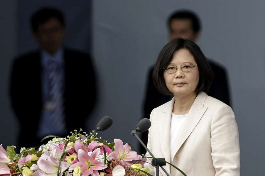 Taiwan President Tsai Ing-wen speaking in front of the crowd after her swearing-in as the 14th President of Taiwan on May 20, 2016.