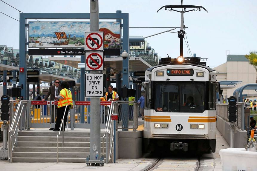 A train is seen at Downtown Santa Monica station on LA Metro's new Expo Line extension that connects downtown to the beach on May 20, 2016.
