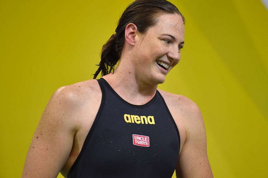 Cate Campbell reacts during the 2016 Australian Olympic swimming trials for the Rio Olympic Games in Adelaide, Australia, on April 13, 2016.